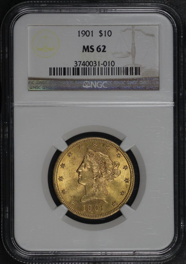 Obverse of this 1901 Liberty Head $10 NGC MS-62