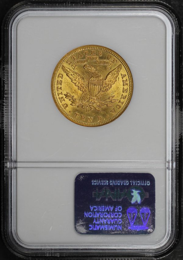 Reverse of this 1906-D Liberty Head $10 NGC MS-64