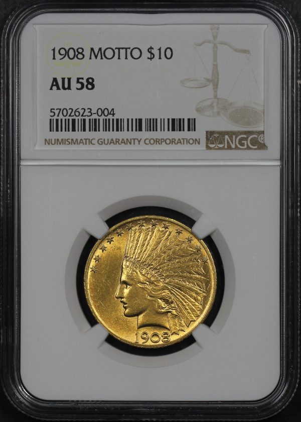 Obverse of this 1908 Indian $10 Motto NGC AU-58