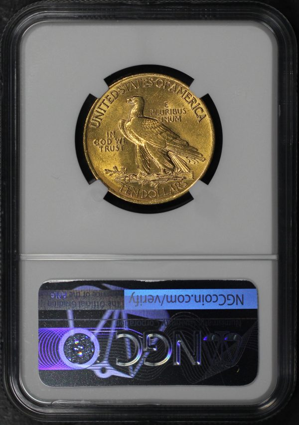 Reverse of this 1908 Indian $10 Motto NGC AU-58