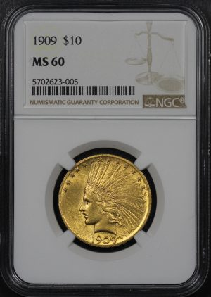 Obverse of this 1909 Indian $10 Motto NGC MS-60