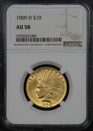 Obverse of this 1909-D Indian $10 Motto NGC AU-58