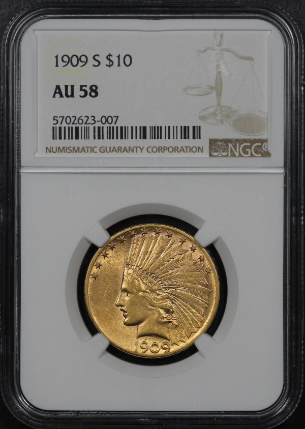 Obverse of this 1909-S Indian $10 Motto NGC AU-58
