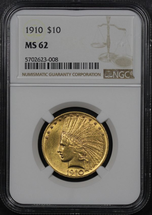 Obverse of this 1910 Indian $10 Motto NGC MS-62