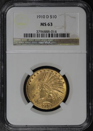 Obverse of this 1910-D Indian $10 Motto NGC MS-63