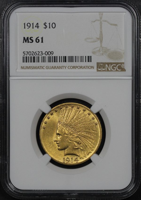 Obverse of this 1914 Indian $10 Motto NGC MS-61