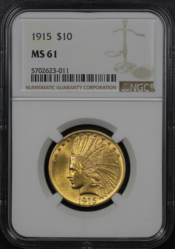 Obverse of this 1915 Indian $10 Motto NGC MS-61