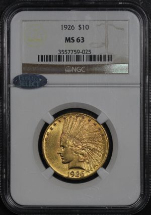 Obverse of this 1926 Indian $10 Motto NGC MS-63