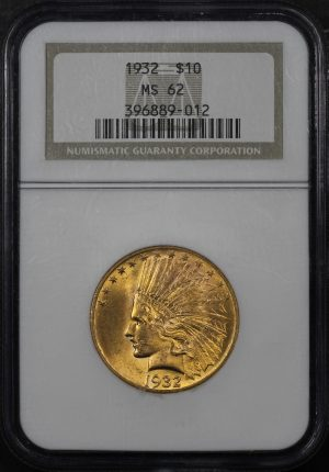 Obverse of this 1932 Indian $10 Motto NGC MS-62