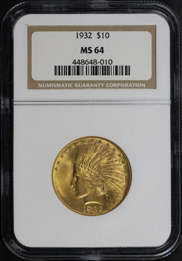 Obverse of this 1932 Indian $10 Motto NGC MS-64