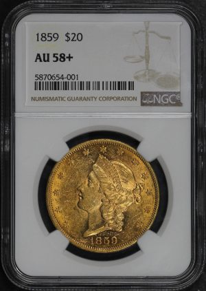 Obverse of this 1859 Liberty Head $20 Type 1 NGC AU-58+