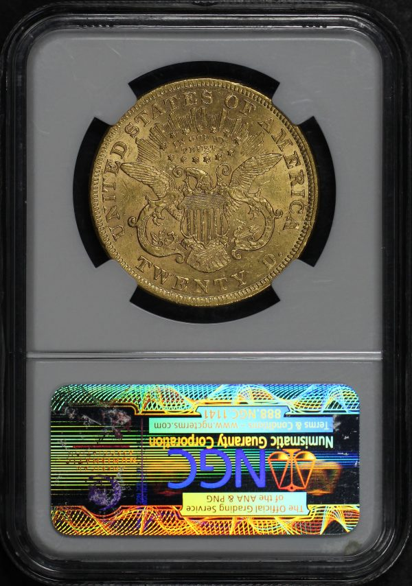 Reverse of this 1873 Open 3 Liberty Head $20 NGC AU-55