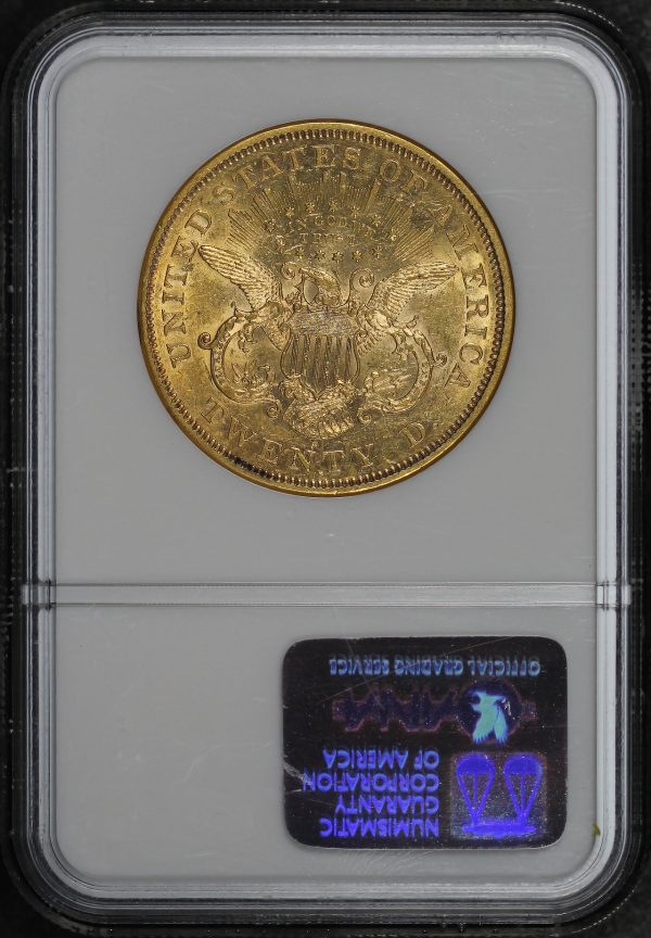 Reverse of this 1874-S Liberty Head $20 NGC AU-55