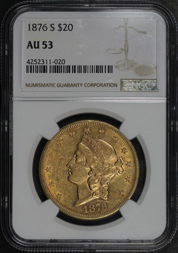 Obverse of this 1876-S Liberty Head $20 NGC AU-53