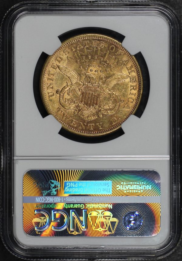 Reverse of this 1876-S Liberty Head $20 NGC AU-53