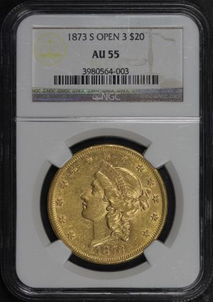 Obverse of this 1873-S Liberty Head $20 Open 3 NGC AU-55