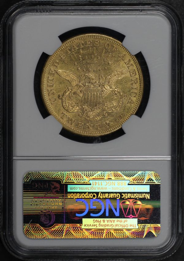 Reverse of this 1873-S Liberty Head $20 Open 3 NGC AU-55