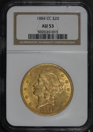 Obverse of this 1884-CC Liberty Head $20 Type 3 NGC AU-53
