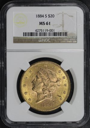 Obverse of this 1884-S Liberty Head $20 Type 3 NGC MS-61