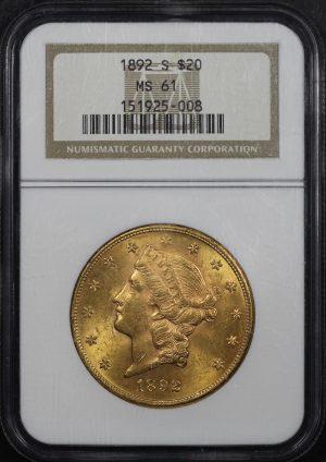 Obverse of this 1892-S Liberty Head $20 Type 3 NGC MS-61