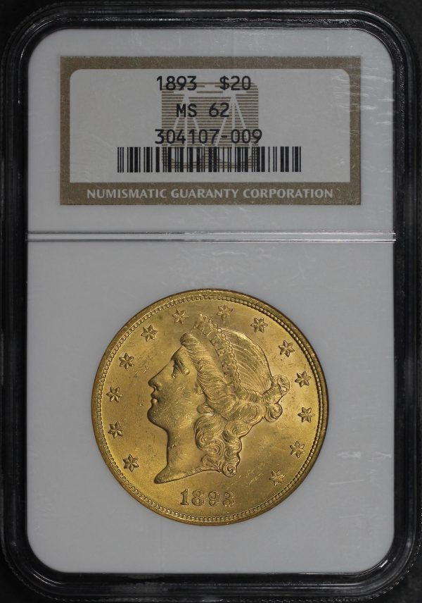 Obverse of this 1893 Liberty Head $20 Type 3 NGC MS-62