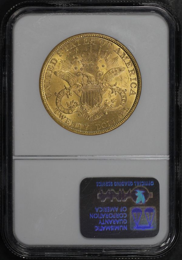 Reverse of this 1893 Liberty Head $20 Type 3 NGC MS-62