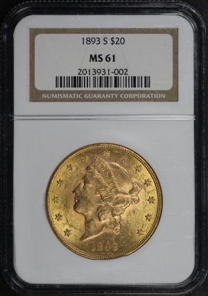 Obverse of this 1893-S Liberty Head $20 Type 3 NGC MS-61