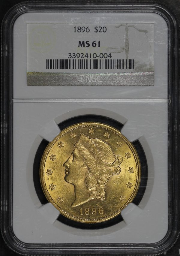 Obverse of this 1896 Liberty Head $20 Type 3 NGC MS-61