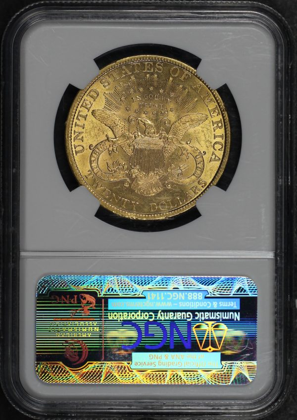 Reverse of this 1896 Liberty Head $20 Type 3 NGC MS-61