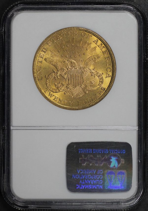 Reverse of this 1896 Liberty Head $20 Type 3 NGC MS-62