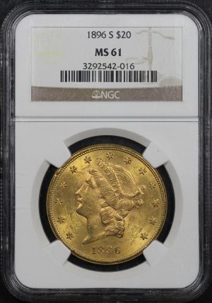 Obverse of this 1896-S Liberty Head $20 Type 3 NGC MS-61