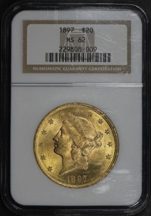 Obverse of this 1897 Liberty Head $20 Type 3 NGC MS-62