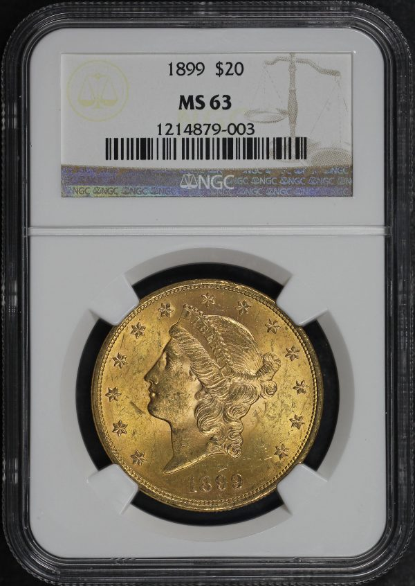Obverse of this 1899 Liberty Head $20 Type 3 NGC MS-63
