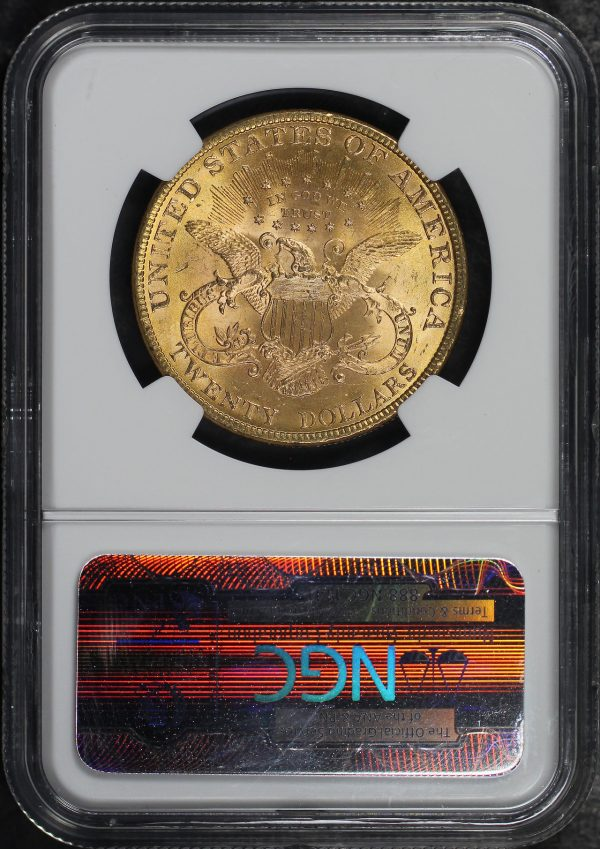 Reverse of this 1899 Liberty Head $20 Type 3 NGC MS-63