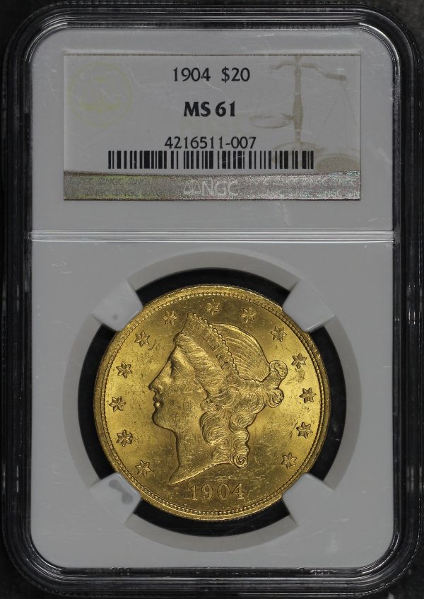 Obverse of this 1904 Liberty Head $20 Type 3 NGC MS-61