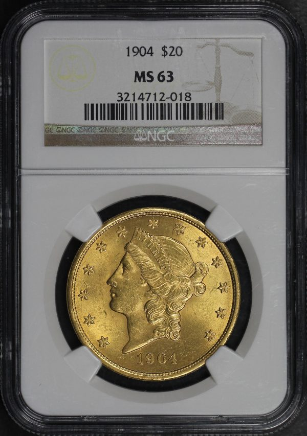 Obverse of this 1904 Liberty Head $20 Type 3 NGC MS-63