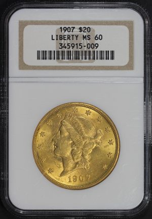Obverse of this 1907 Liberty Head $20 Type 3 NGC MS-60