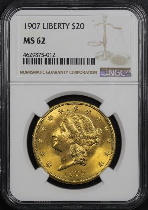 Obverse of this 1907 Liberty Head $20 Type 3 NGC MS-62