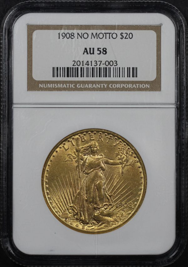 Obverse of this 1908 No Motto St. Gaudens $20 NGC AU-58