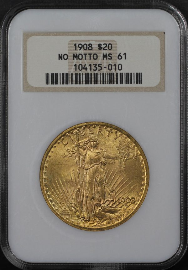 Obverse of this 1908 St. Gaudens $20 No Motto NGC MS-61
