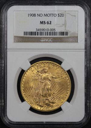 Obverse of this 1908 St. Gaudens $20 No Motto NGC MS-62