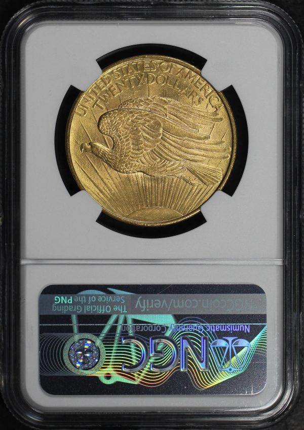 Reverse of this 1908 St. Gaudens $20 No Motto NGC MS-62