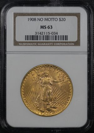 Obverse of this 1908 St. Gaudens $20 No Motto NGC MS-63