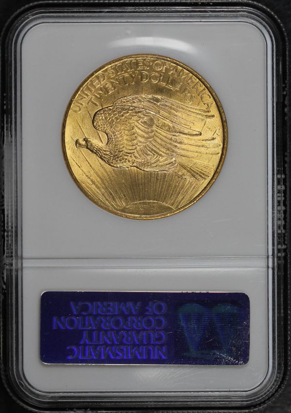 Reverse of this 1908 St. Gaudens $20 No Motto NGC MS-63