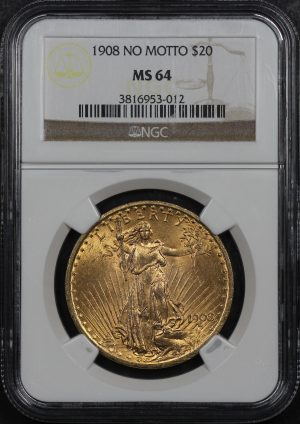 Obverse of this 1908 St. Gaudens $20 No Motto NGC MS-64
