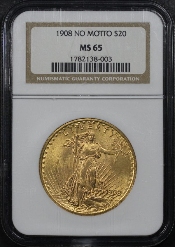 Obverse of this 1908 St. Gaudens $20 No Motto NGC MS-65