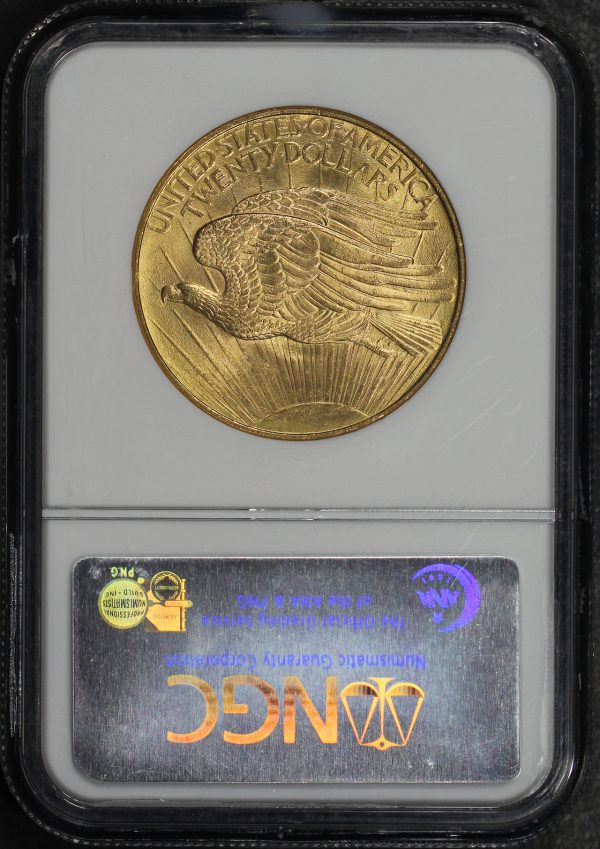 Reverse of this 1908 St. Gaudens $20 No Motto NGC MS-65