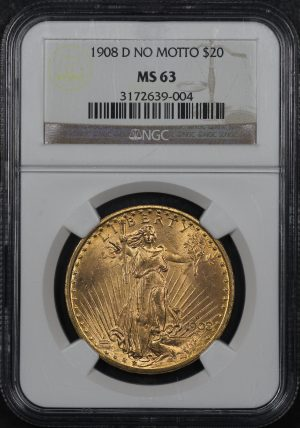 Obverse of this 1908-D D St. Gaudens $20 No Motto NGC MS-63