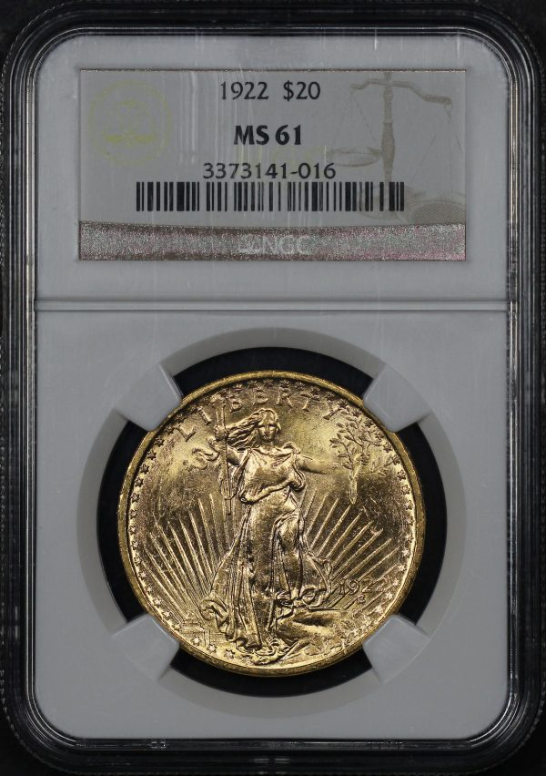 Obverse of this 1922 St. Gaudens $20 NGC MS-61