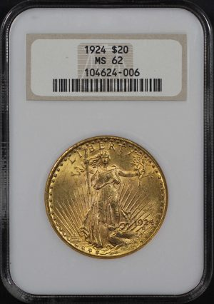 Obverse of this 1924 St. Gaudens $20 NGC MS-62